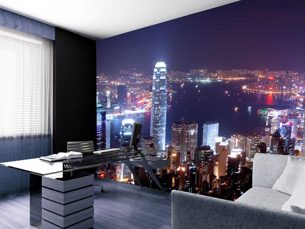 Fototapete Hong Kong bei Nacht