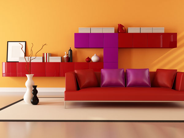 Rote Farben im Raum